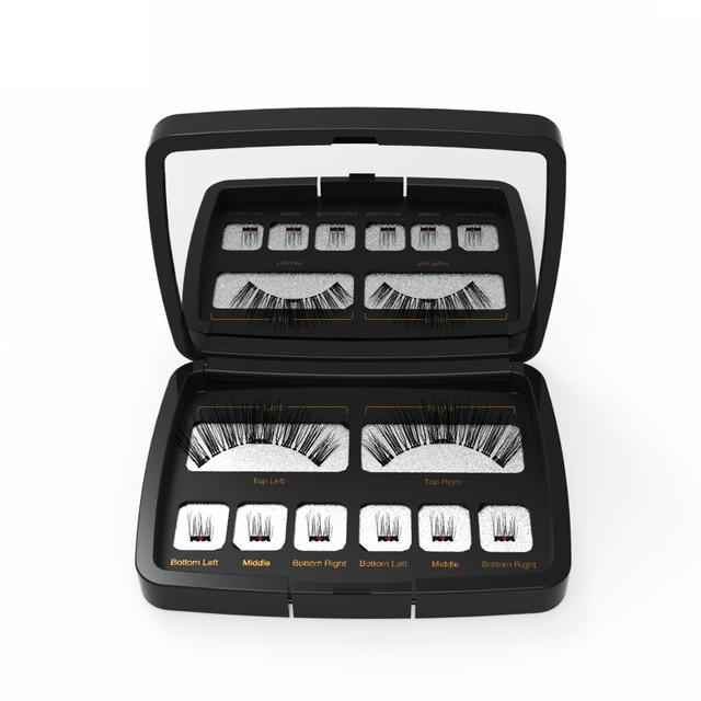 Genailish 8pc 3D Magnetic Eyelashes with Mirror Acrylic Box False Eyelashes Tweezer Makeup Magnetic Eye Lashes Extension SCT-602 6
