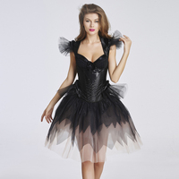 Special Style High Quality Sexy Women Overbust Corset Dress Fairy Ladies Black Bustiers Vintage Back Bandage