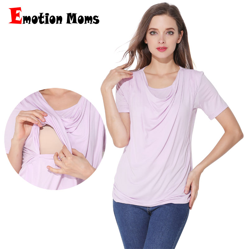 2983cb2f545 Emotion Moms Modal Summer Maternity Clothes Short sleeve Maternity T-shirt  Breastfeeding Clothes for Pregnant