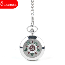 Silver Men Military Army Emblem Mechanical Hand Wind Pocket Watch With Necklace Key Chain Cool Sales Luxury Gift Box Watch
