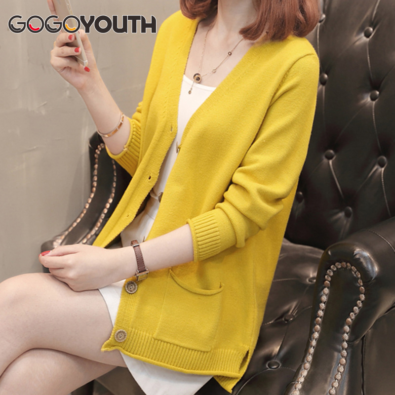 Gogoyouth Knitted Women Long Sleeve Cardigan 2018 Autumn Korean Top Winter Sweater Female Yellow Cashmere Cardigan Femme Coat