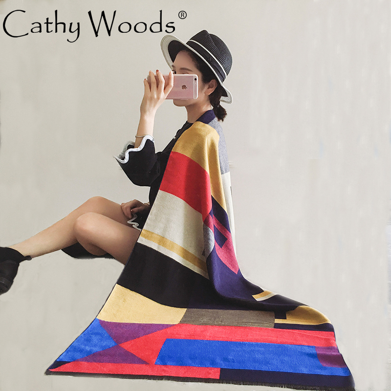 CW cashmere lattice geometric stitching napkin scarf for a woman winter warm 190 * 63CM
