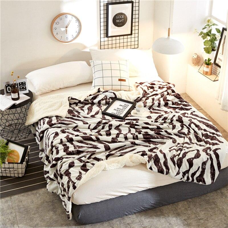 Осень и Зима Простой кашемировые одеяла утолщаются фланель двойной бархат простыни подарок Зебра леопардовым узором Одеяло - 2