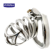 FRRK Male Chastity Cage Stainless Steel Device Belt Bird Metal Cock Lock Restraint Ring Sex Toy for Men