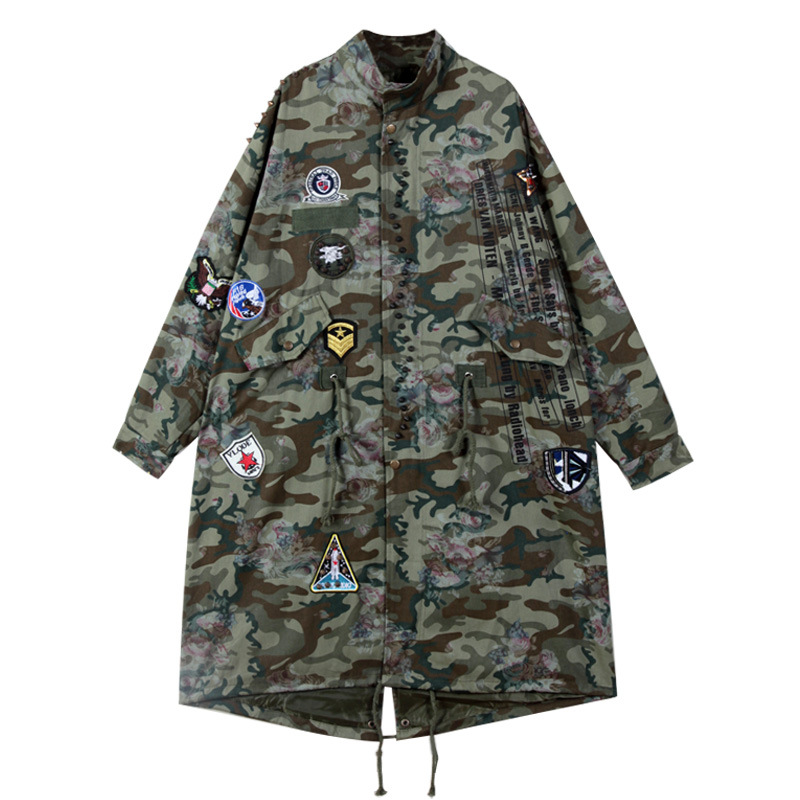 Sherhure 2019 Patches Camouflage Print Oversize Women Bomber Jackets Casaco Feminino Women Long Autumn Jackets Coat