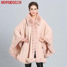 C271 Winter Faux Cashmere Warm Thick Coat 2018 Plus Size Poncho Women Solid Faux Fur Neck Cape Big Pendulum Dovetail Cardigan