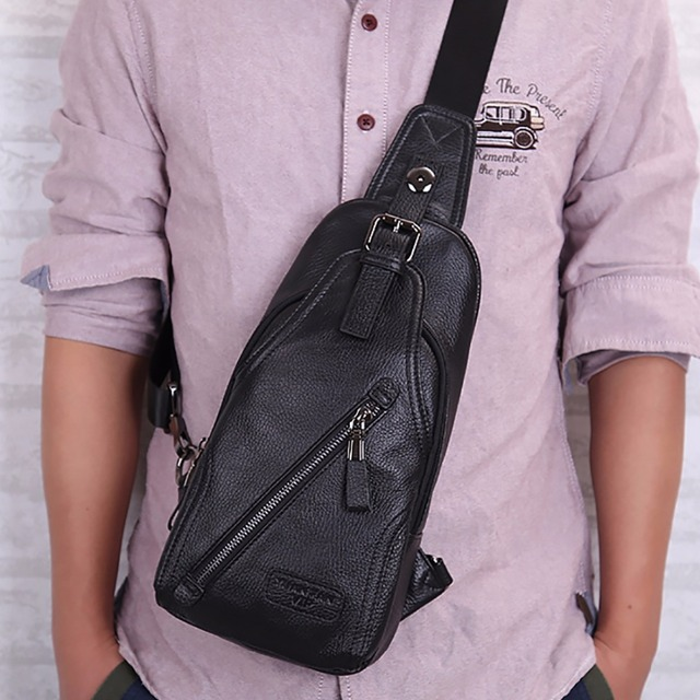Genuine Leather Cross Body Single Chest Back Pack Men Travel Casual Messenger Day Bag First Layer