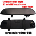 free shipping 2.7inch car rearview mirror DVR night vision car camcorder 120 degree wide angle
