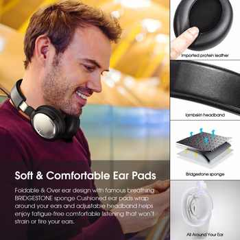 New Bee Bluetooth Headphones Active Noise Cancelling Wireless Headset with Wireless Chariging Headphone Stand Dual Mic NFC