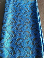 Jacquard Brocade Fabric Flower African Lace Sew Clothes Dress Material Patchwork Yarn Dye Fabric Blue