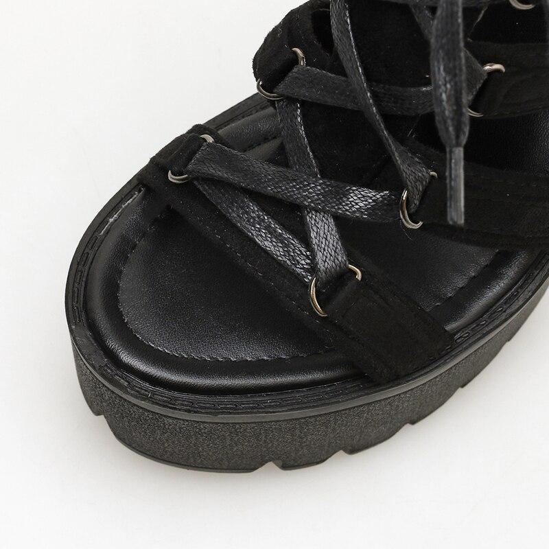 Wildleder CM High Punk Schuhe Heels Zur Schwarz Sandalen Keil 13 jL3Aq54R