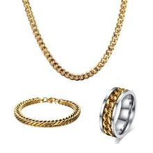 Men Hip Hop Jewelry Set Stainless Steel Link Chain Necklace Bracelet and Spinner Ring Jewellery Sets(China)