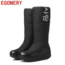 EGONERY shoes 2017 winter new come lady snow boots women winter fashion warm shoes woman knee high fur boots plus size 44 CN