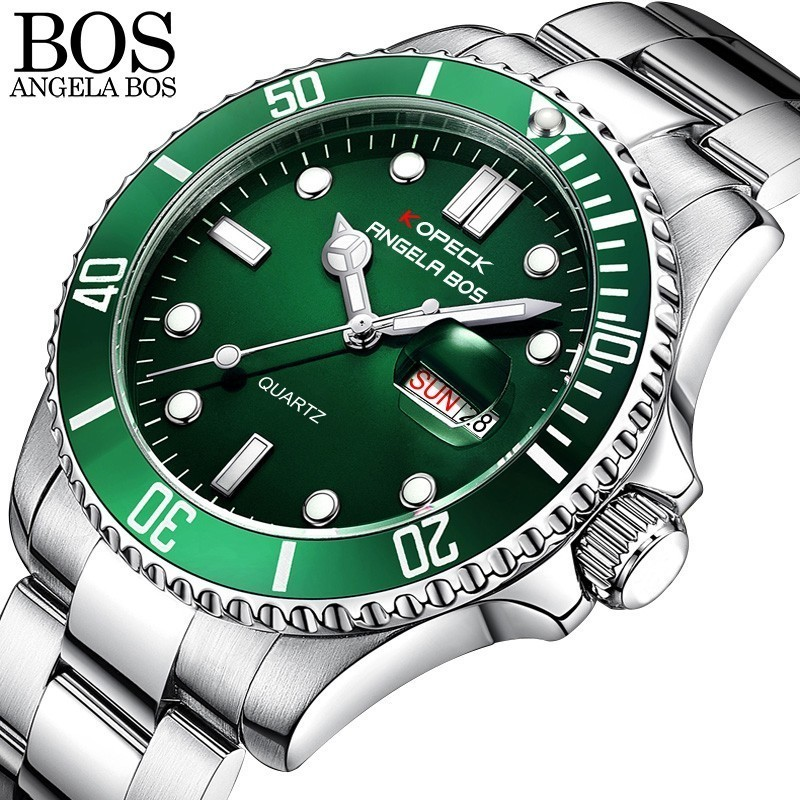 ANGELA BOS Colorful Diver Watch Waterproof Swimming Watch Men Stainless Steel Series Quartz Men Watches 2018 Luxury Brand Date