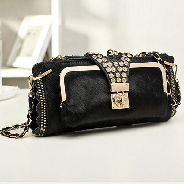 3e2dc7468c13 Genuine Leather Clutch Bag Women Messenger Bags Handbags Famous Brands  Luxury Purse Serpentine Rivet Chain Shoulder Bag