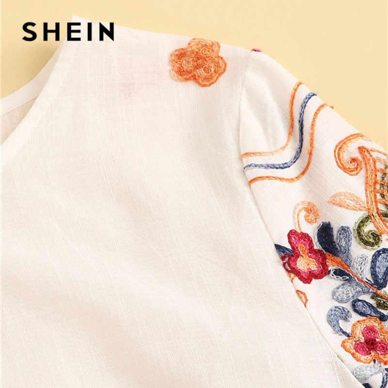 שיין רקמה פרחוני הדפסת לבן חולצה נשים חולצות וחולצות Boho כותנה עגול צוואר קצר שרוול חולצה 2019 גבירותיי חולצות