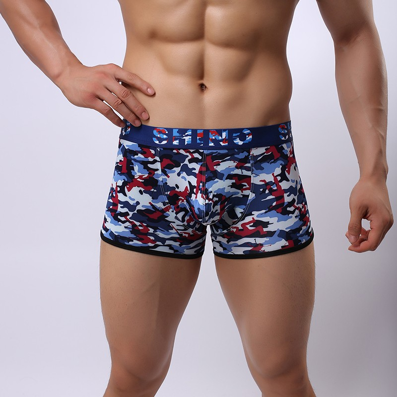 2017 Fashion Camouflage Print Men Casual Big Penis Pouch Long Boxers Shorts Gay Male -8153