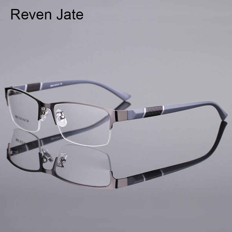 Reven Jate 8850 Half Rim Alloy Front Rim Flexible Plastic TR-90 Temple Legs Optical Eyeglasses Frame for Men and Women Eyewear