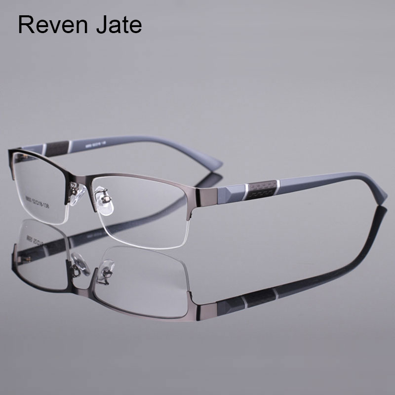 Reven Jate 8850 Half Rim Alloy Front Rim Flexible Plastic TR-90 Temple Legs Optical Eyeglasses Frame for Men and Women Eyewear iPhone 8
