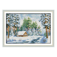 Joy sunday contagem crossstitch kit diy neve árvore do mundo cabine dmc14ct11ctcottonfabric hotel pintura da sala de estar do quarto do bebê por atacado
