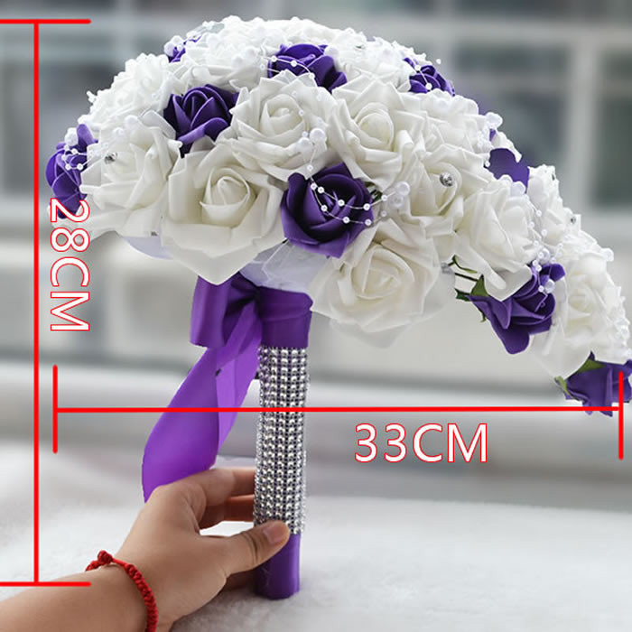2016 Real Touch Brides Rose Wedding Flowers Teardrop Cascade Bridal ...