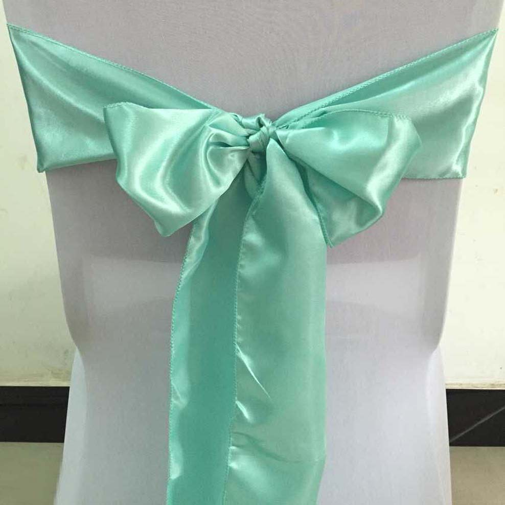 Tiffany Blue Chair Us 89 Free Shipping 100pcs Tiffany Blue Satin Chair Sashes Satin Chair Cover Bow Ties For Banquet Wedding Decoration In Sashes From Home Garden