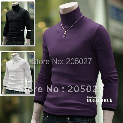 freeshipping autumn and winter white black red purple grey mens slim turtleneck sweater