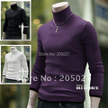 freeshipping  autumn and winter white black red purple grey mens slim turtleneck sweater