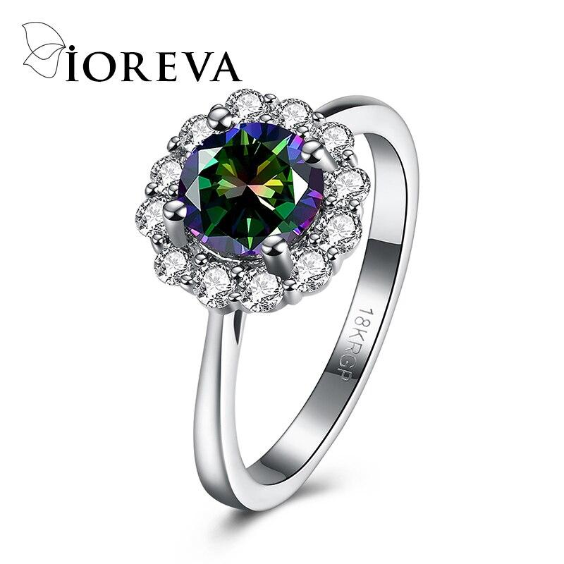 Flower Wedding Rings For Women Jewellery Rainbow Cz Diamond