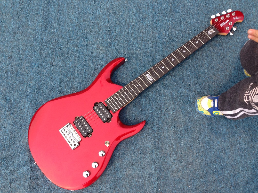 Good sound Ernie Ball Musicman JP12 electric guitar silver red color