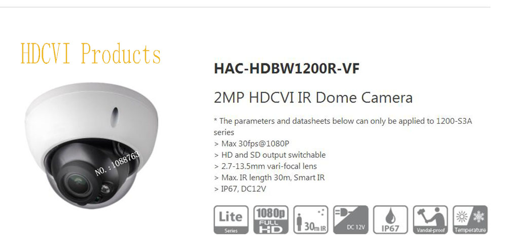 все цены на Free Shipping Original English DAHUA Security Camera CCTV 2MP HDCVI IR Dome Digital Video Camera without Logo HAC-HDBW1200R-VF онлайн