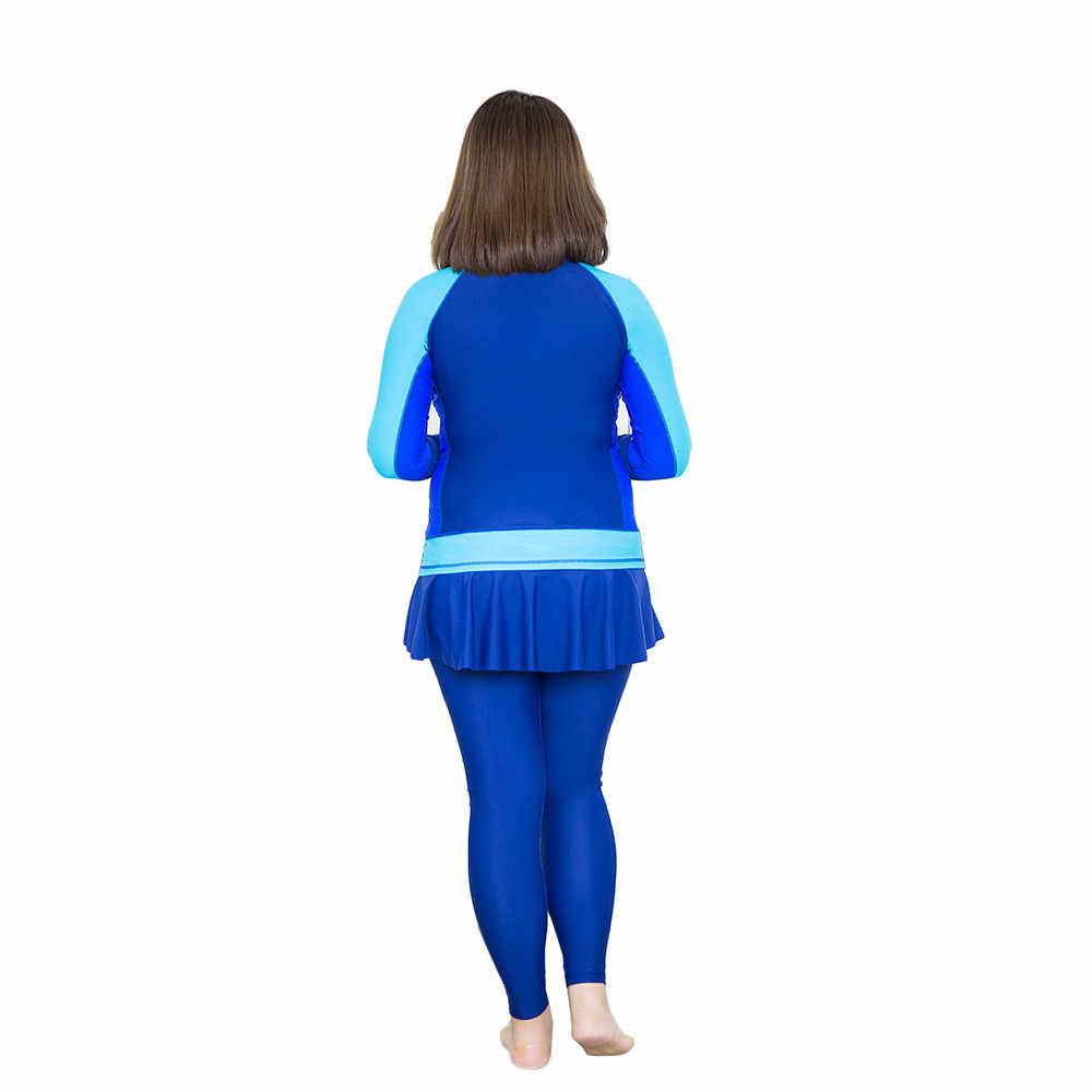 Baru 2018 lengan panjang tabir surya olahraga membagi dua potong baju renang seksi Rok celana pakaian renang plus ukuran L-6XL perempuan baju renang