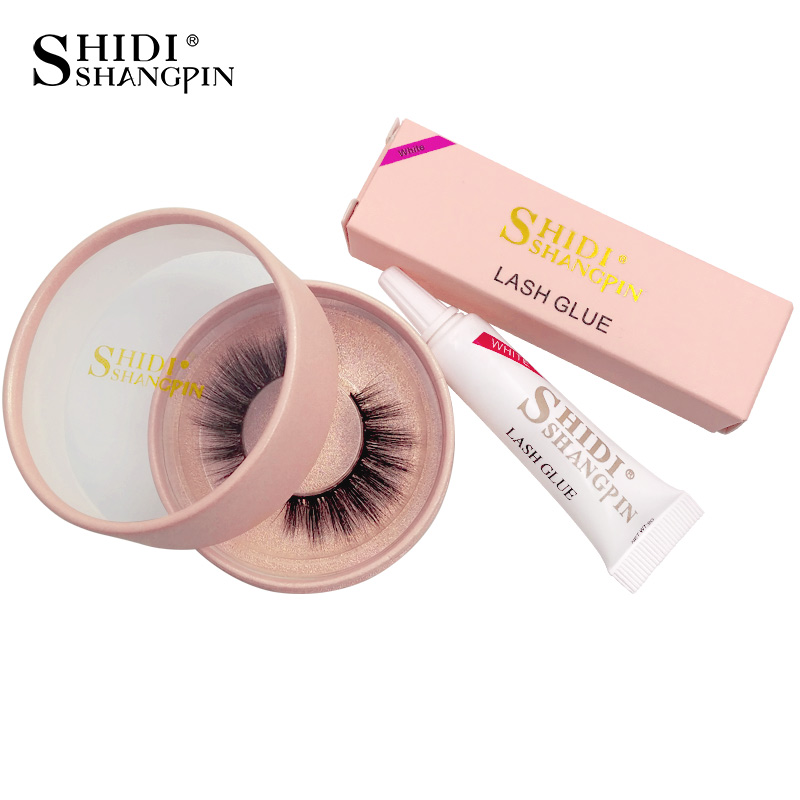 SHIDISHANGPIN 1 pair mink eyelash 1 box glue for fake eyelash natural 3d mink long lashes handmade eyelash extension makeup kits