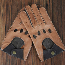 цена на Free shipping hot selling 2 pairs quality genuine goatskin leather driving gloves safety protecting working gloves