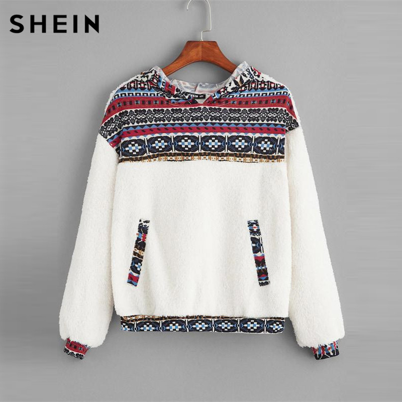 SHEIN White Tribal Print Drop Shoulder Teddy Hoodie Student Round Neck Faux Fur Sweatshirt Autumn Casual Women Sweatshirts
