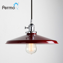 Permo 11.8 modern chrome metal lampshade vintage loft pendant lamp retro ceiling hanging cord light fixtures for Home Lighting