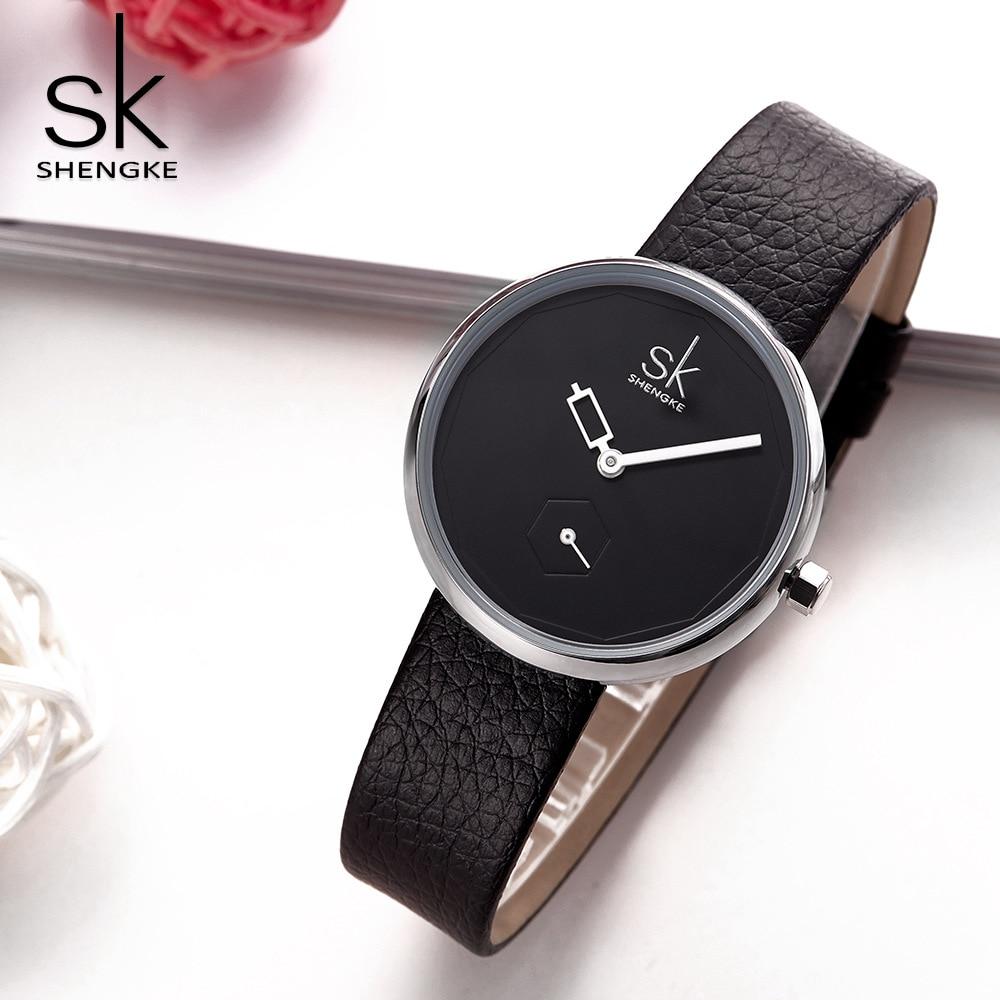 SK Creative Quartz Women Watches Brand Personality Ladies Leather Watch  Relogio Feminino Girl Irregul Point Wrist Saat