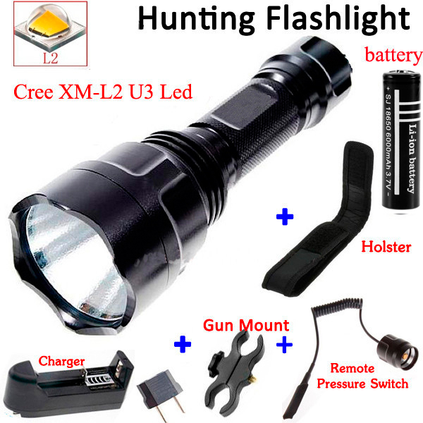 OEM C8 2000LM CREE XM-L2 LED 5 Mode Hunting Flashlight for bike+ 1PC 18650 battery/Gun Mount/Charger/Holster/Remote Switch new klarus xt11gt cree xhp35 hi d4 led 2000 lm 4 mode tactical led flashlight free usb port and 18650 battey for self defence