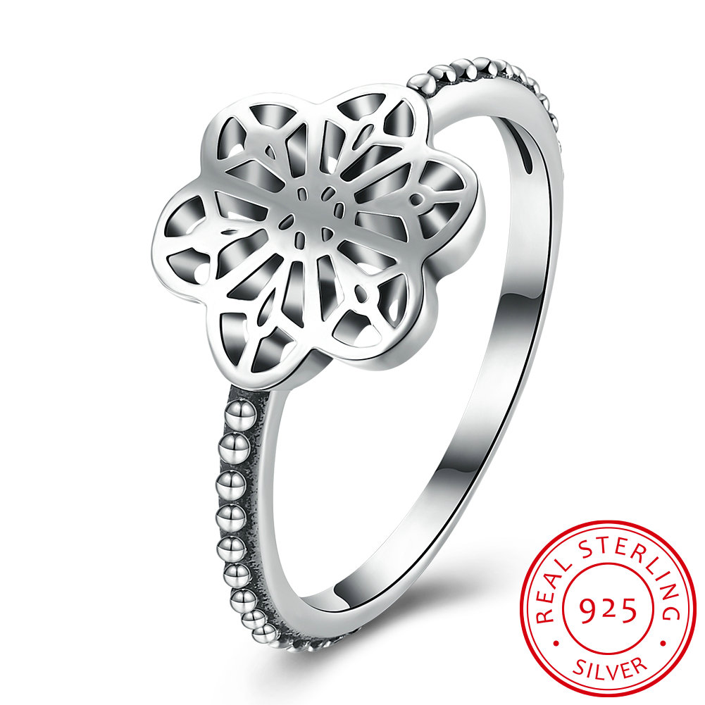 Ufooro New Design S925 Silver Fashion Jewelry Flower Floral Daisy Lace Ring  For Women Wedding Engagement Ring Fine Jewelry Gift