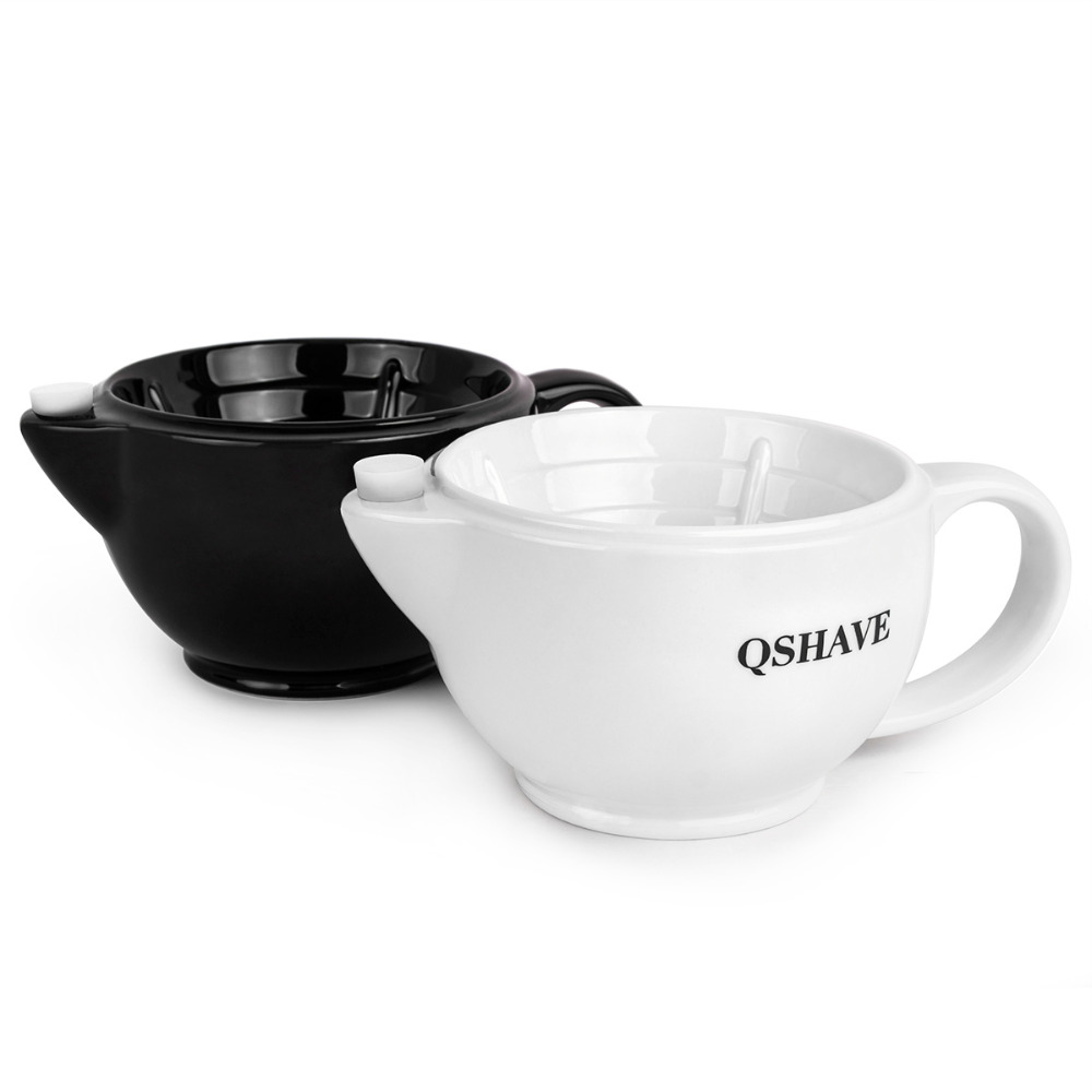 QSHAVE Razor Shaving Scuttle Mug Filled hot Water Keep Lather Always Warm It Large Size Bowl Handmade Pottery Cup Black & White 5