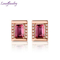 Piuttosto Taglio Smeraldo 4x6mm Solid 18 K Rose Gold Natural Diamond Tourmaline Wedding Orecchino WE053