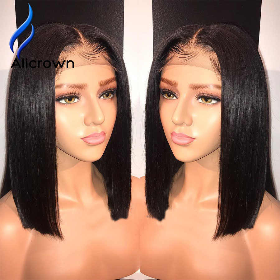 Alicrown кружевные передние человеческие волосы парики для женщин бразильские Remy короткие Боб 13*4 Кружева передние обесцвеченные парики вида шишка-пучок с волосами младенца