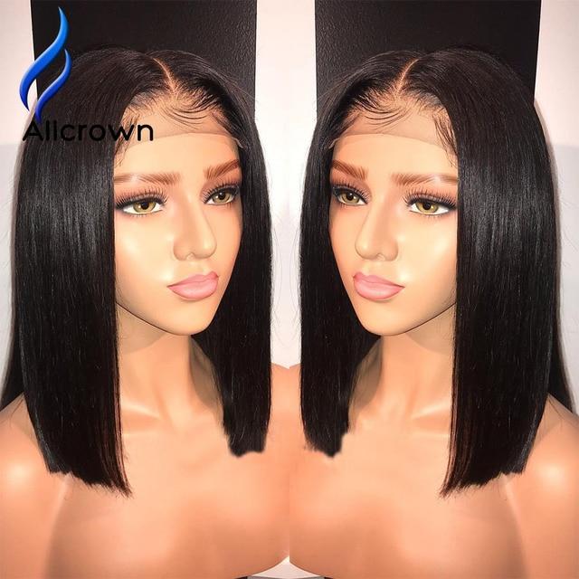 Pelucas de pelo humano frontales de encaje Alicrown para mujeres brasileñas Remy corto Bob 13*4 pelucas delanteras de encaje nudos blanqueados con el pelo del bebé