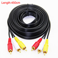 Gold Plated 3 RCA to 3 RCA Male to Male Audio Video AV Cable OFC High Grade 1.5m 3m 5m 10m 15m 20m