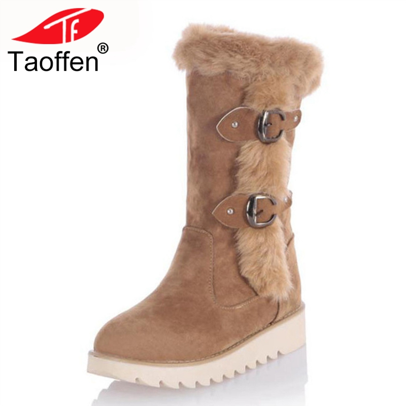 TAOFFEN Size 31-43 Gladiator Snow Boots Women Flats Half Short Boot Ladies Warm Plush Winter Mid Calf Boots Footwear Shoes Woman ekel bb крем с жемчугом 50 мл