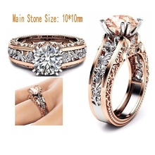 Women's Fashion Ring Alloy Plated Rose Gold Finger Ring Wedding Party Zircon Crystal Finger Jewelry стоимость