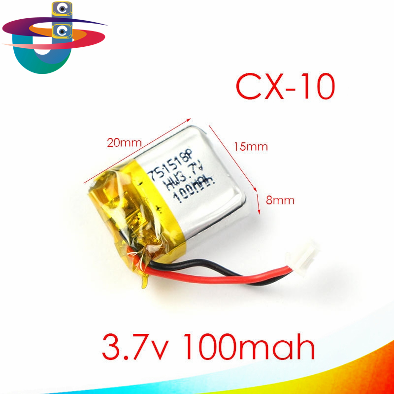 One piece 3.7V 100mAh Cheerson CX10 CX-10 CX-10A fq777-124 RC Quadcopter Spare Parts 3.7V 100mAh Lipo Battery