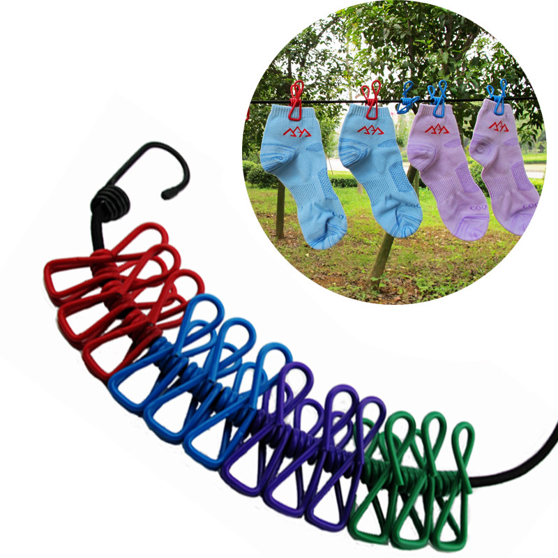 Portable Travel Stretchy Clothesline Outdoor Camping Windproof Clothes Line with 12 Clamp Clip Hooks Travel Kit EDC tools in Outdoor Tools from Sports Entertainment