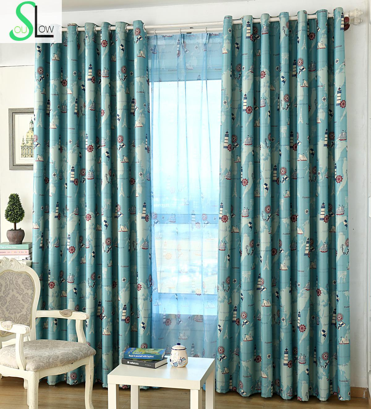 [Slow Soul] Mediterranean Style Navigation Era Shade Cloth Curtain Blackout  French Window Cartoon Curtains