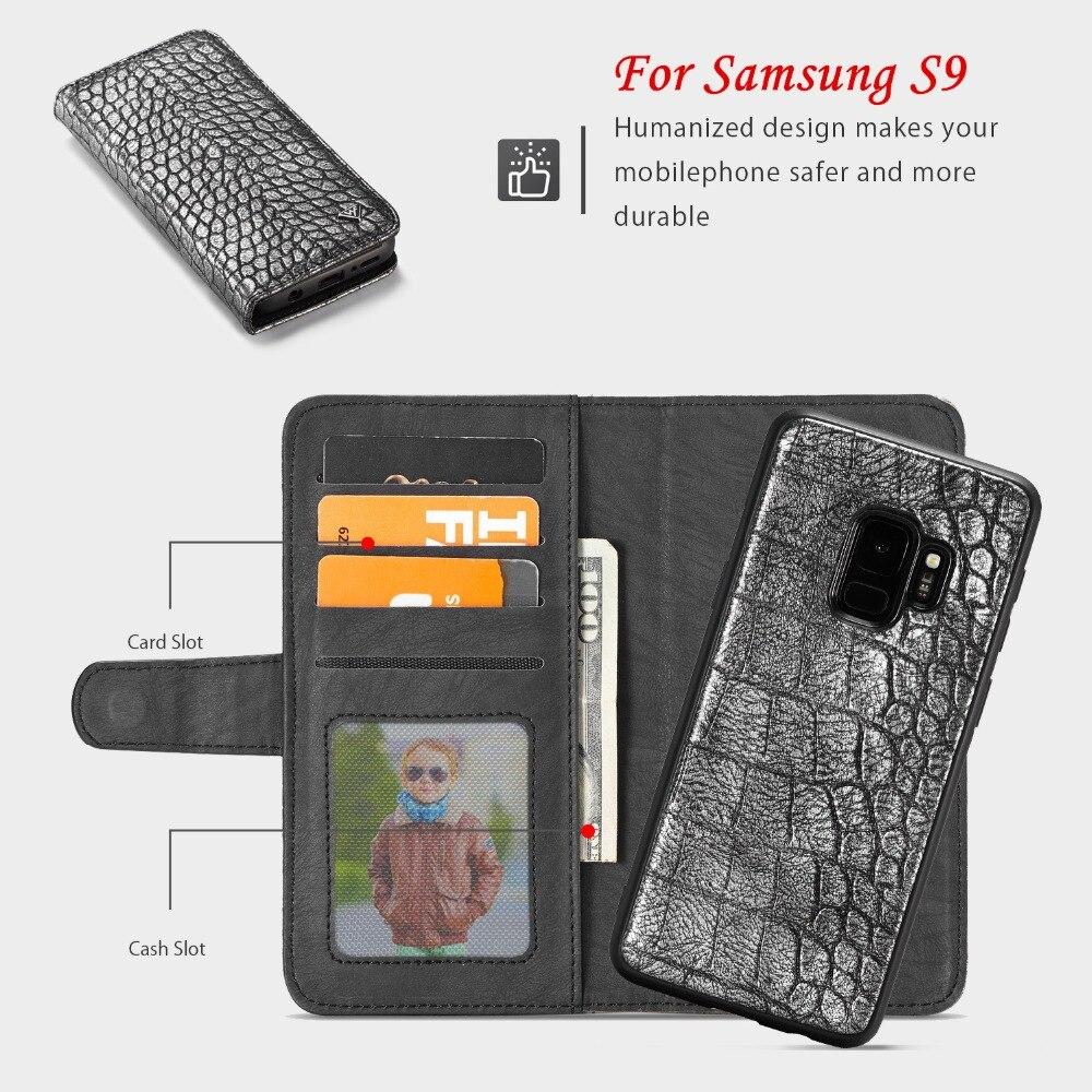JohnDan для samsung Galaxy S9 S 9 Аллигатор кожаный бумажник карты Съемная Магнит флип чехол для samsung S9 2 в 1 откидной крышкой